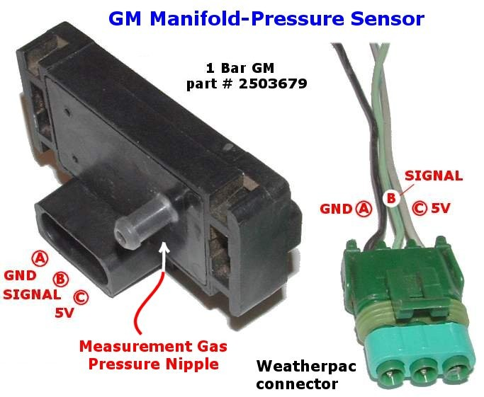 gm map sensors 1 bar, 2 bar, 3 bar wiring harnesses GM Map Sensor Part Numbers gm map sensor